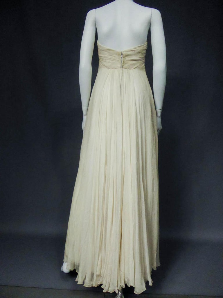 Anonymous French Couture Evening Dress Circa 1970 For Sale 5