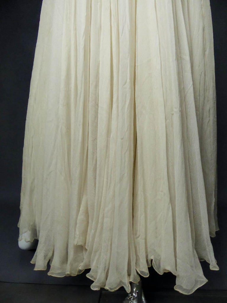 Anonymous French Couture Evening Dress Circa 1970 For Sale 6