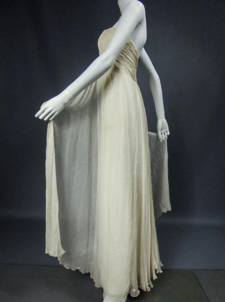 Anonymous French Couture Evening Dress Circa 1970 For Sale 9