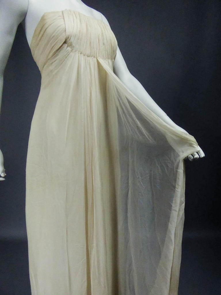 Anonymous French Couture Evening Dress Circa 1970 For Sale 10