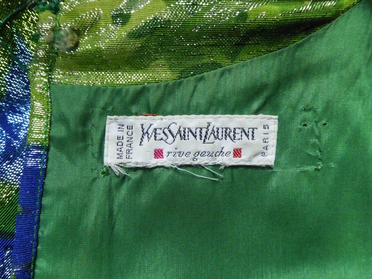 Black Yves Saint Laurent Lamé Evening Dress Van Gogh Collection Circa 1989 For Sale