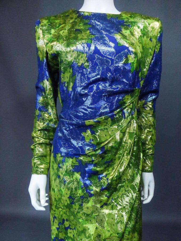 Women's Yves Saint Laurent Lamé Evening Dress Van Gogh Collection Circa 1989 For Sale