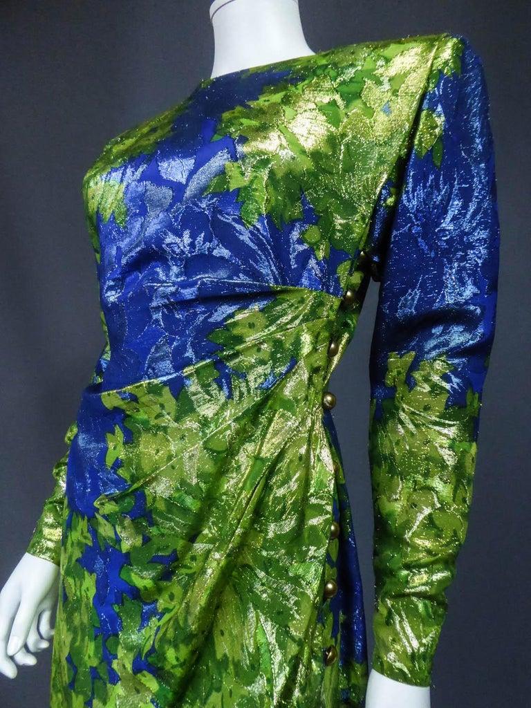 Yves Saint Laurent Lamé Evening Dress Van Gogh Collection Circa 1989 For Sale 3