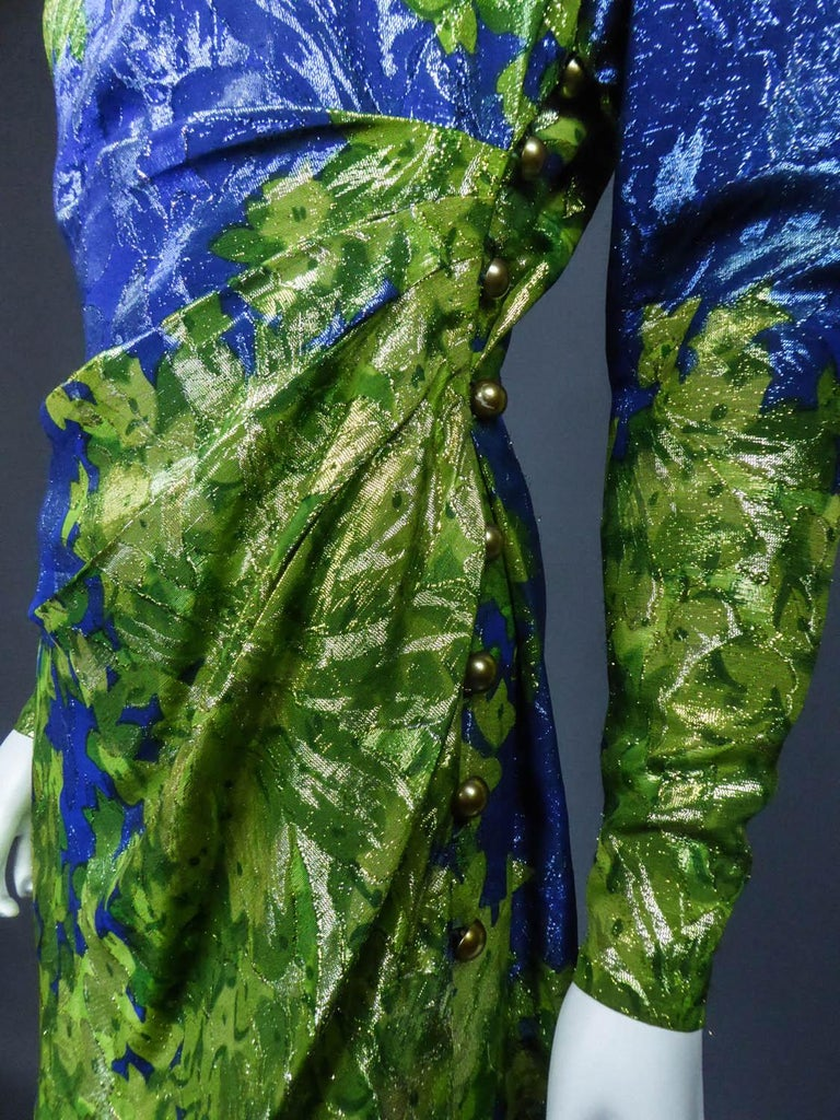 Yves Saint Laurent Lamé Evening Dress Van Gogh Collection Circa 1989 For Sale 4