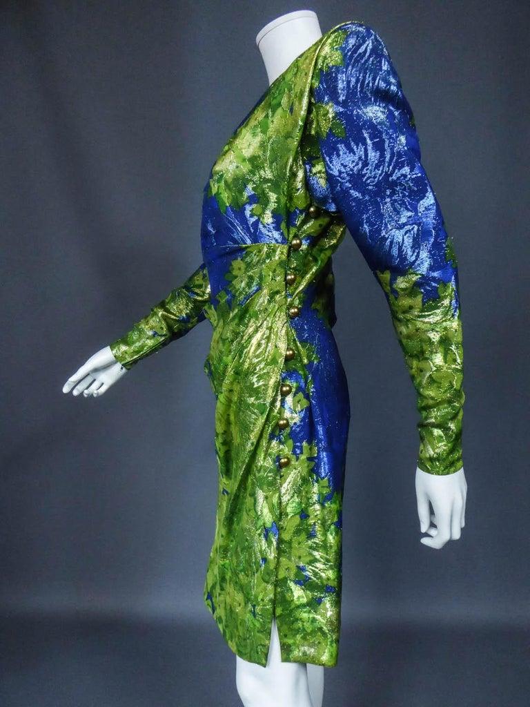Yves Saint Laurent Lamé Evening Dress Van Gogh Collection Circa 1989 For Sale 5