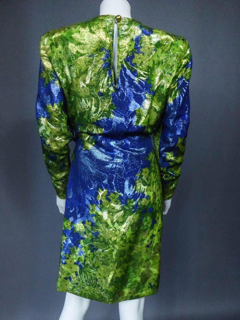 Yves Saint Laurent Lamé Evening Dress Van Gogh Collection Circa 1989 For Sale 7