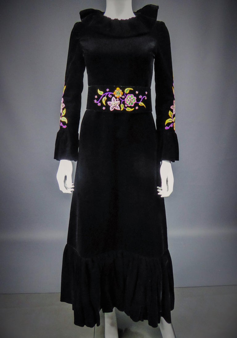 Jean-Louis Scherrer French Couture Black Velvet Dress Circa 1990 For Sale 1