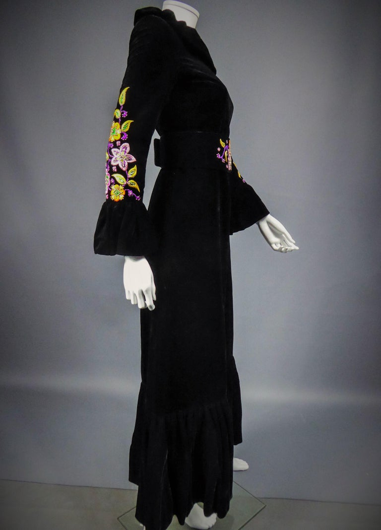 Jean-Louis Scherrer French Couture Black Velvet Dress Circa 1990 For Sale 4