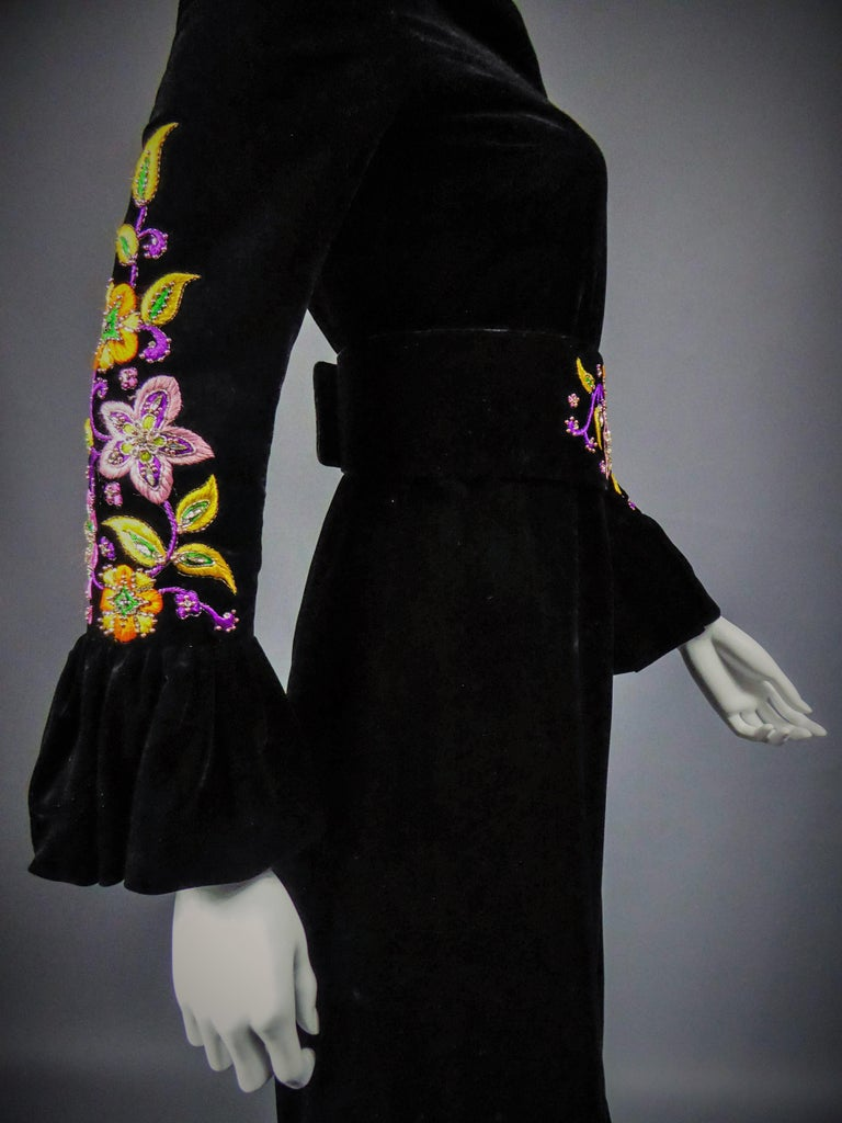 Jean-Louis Scherrer French Couture Black Velvet Dress Circa 1990 For Sale 5