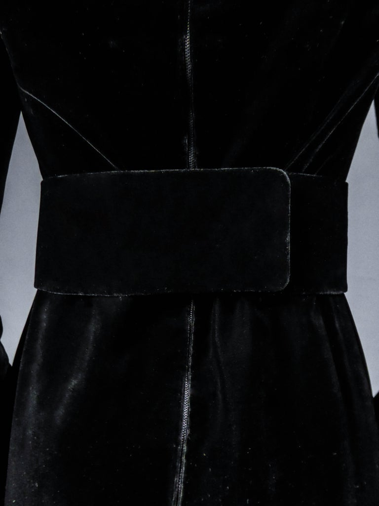 Jean-Louis Scherrer French Couture Black Velvet Dress Circa 1990 For Sale 6