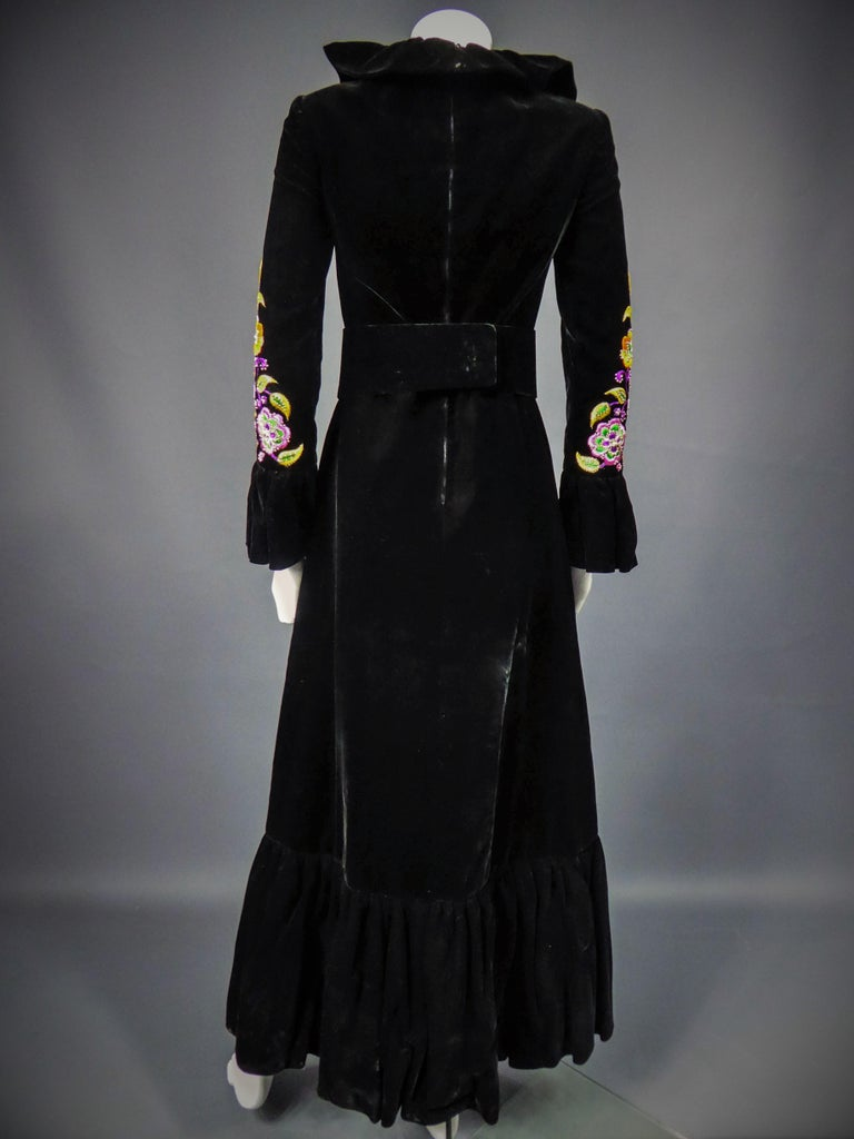 Jean-Louis Scherrer French Couture Black Velvet Dress Circa 1990 For Sale 7