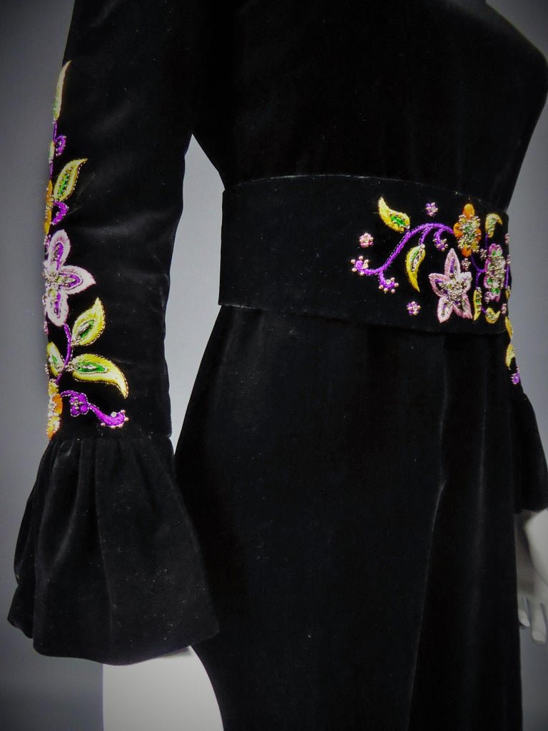 Jean-Louis Scherrer French Couture Black Velvet Dress Circa 1990 For Sale 8