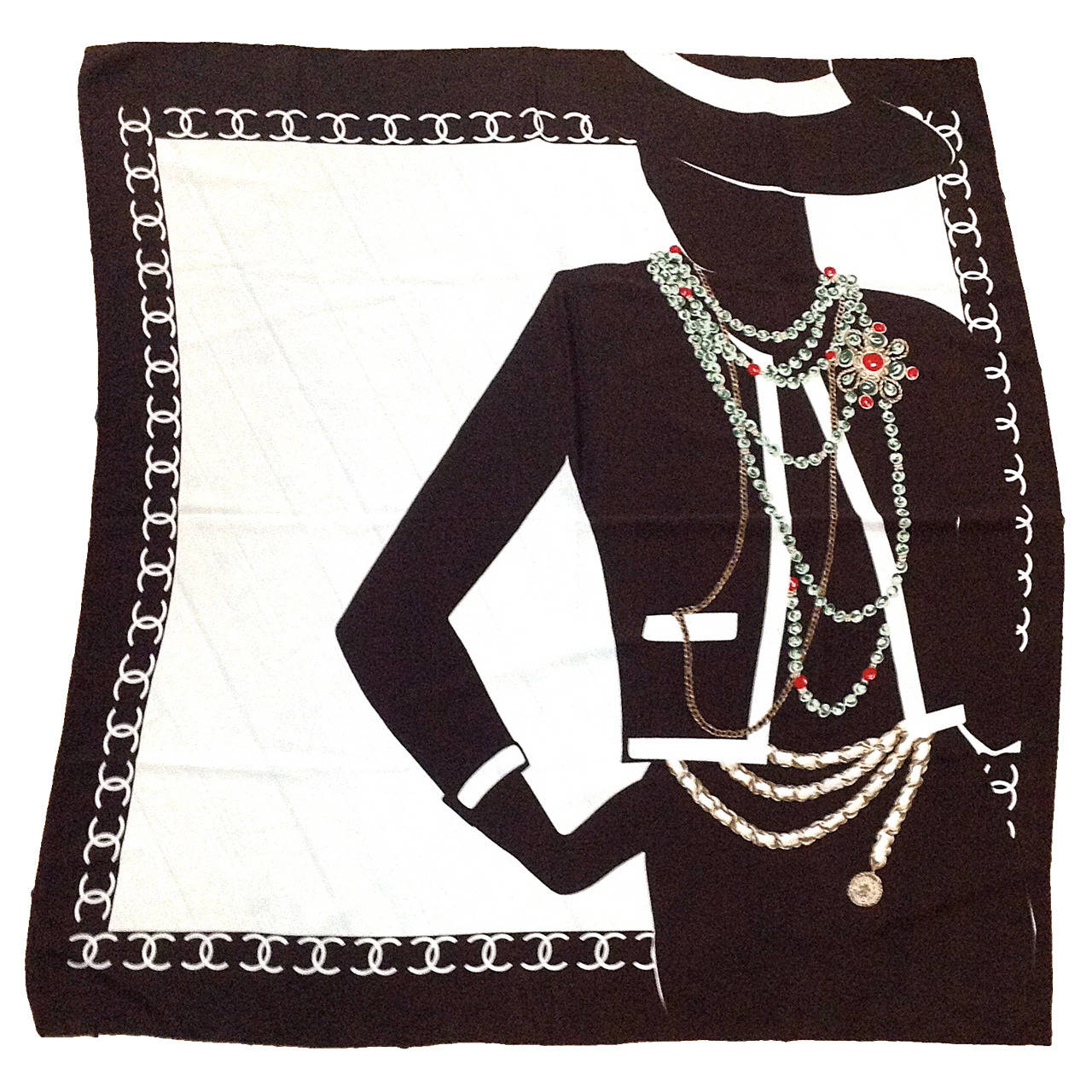 1990s Chanel Silk Scarf Brown And White With Coco Chanel