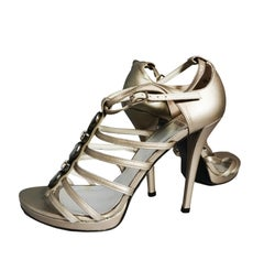 Stuart Weitzman silver sandals with crystal and grey stones, 2000s