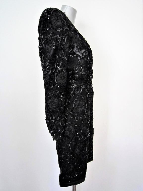 Black Yves Saint Laurent Patron Original Paris Haute Couture evening Dress For Sale