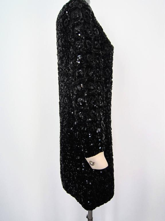 Vintage 1960s Black Sequin dress In Good Condition For Sale In Rome, IT
