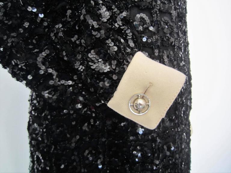 Vintage 1960s Black Sequin dress For Sale 1
