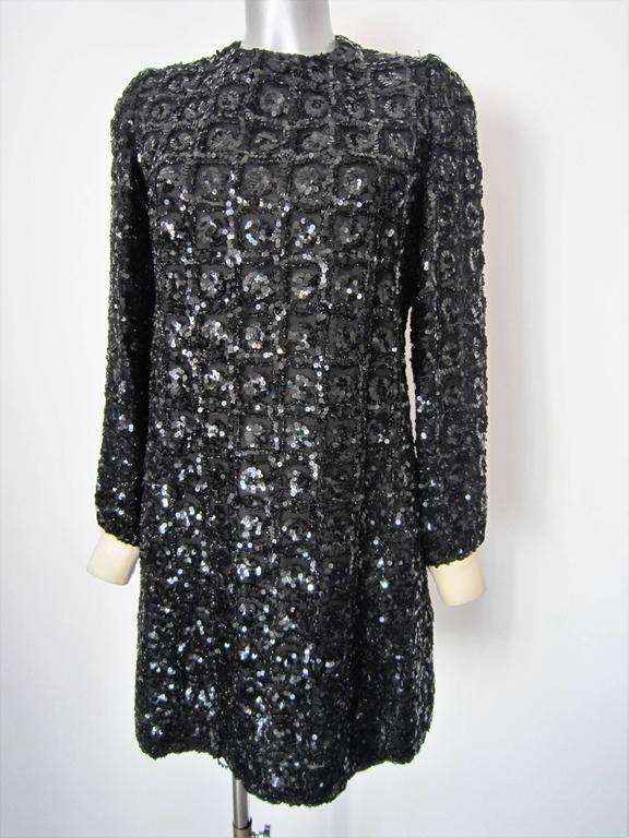 Vintage 1960s Black Sequin dress For Sale 2