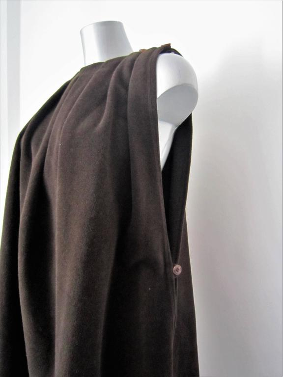 Black GIORGIO ARMANI brown wool cape For Sale