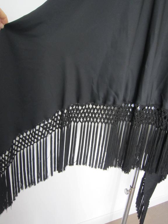 Vintage black fringed shawl  5