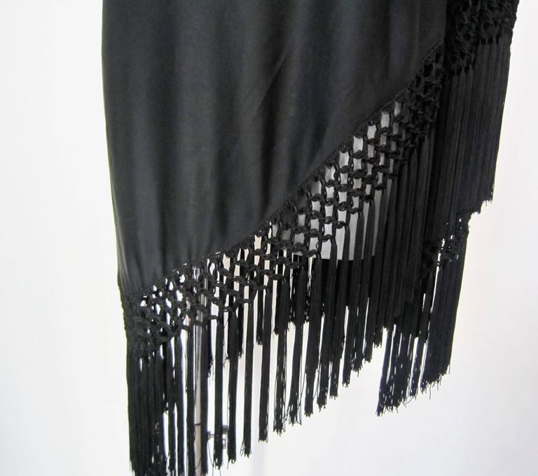 Vintage black fringed shawl  4