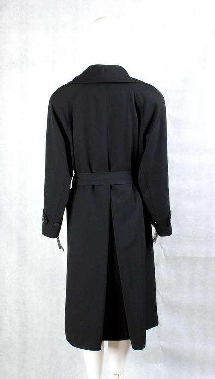 1990s Chanel vintage Double Breasted black wool trench coat 2