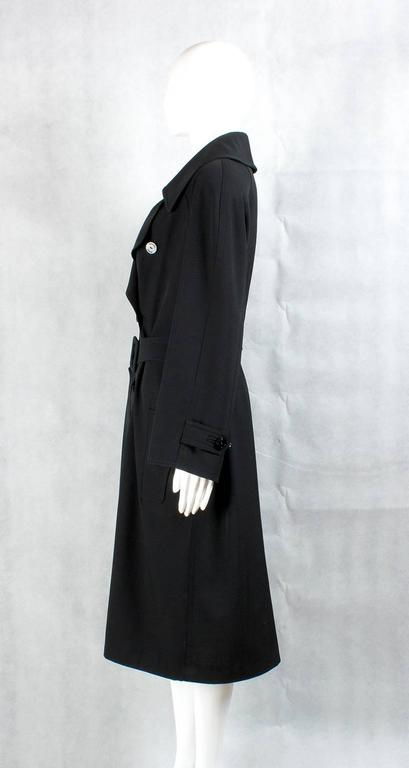 1990s Chanel vintage Double Breasted black wool trench coat 3