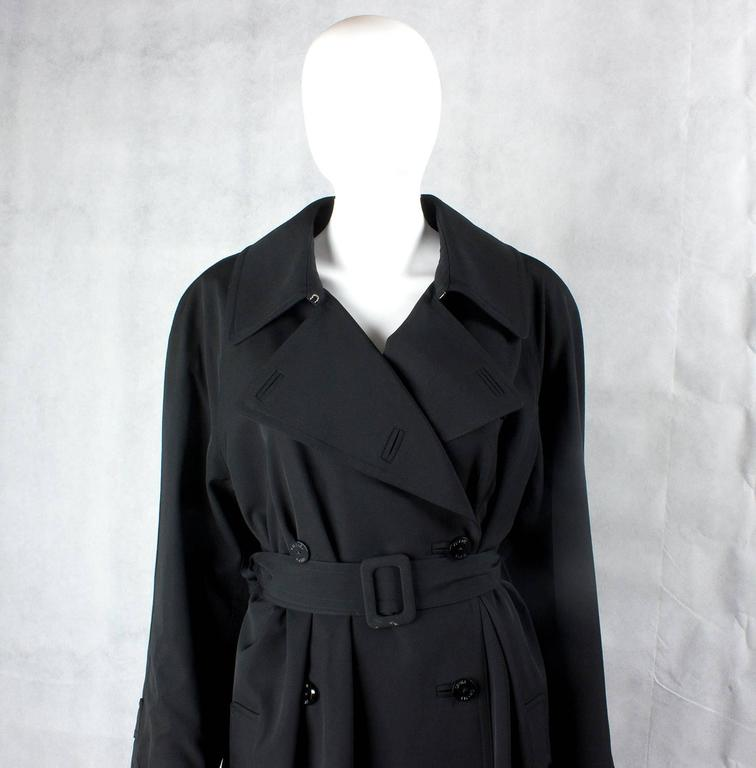 1990s Chanel vintage Double Breasted black wool trench coat 4