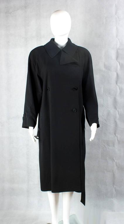 1990s Chanel vintage Double Breasted black wool trench coat 5