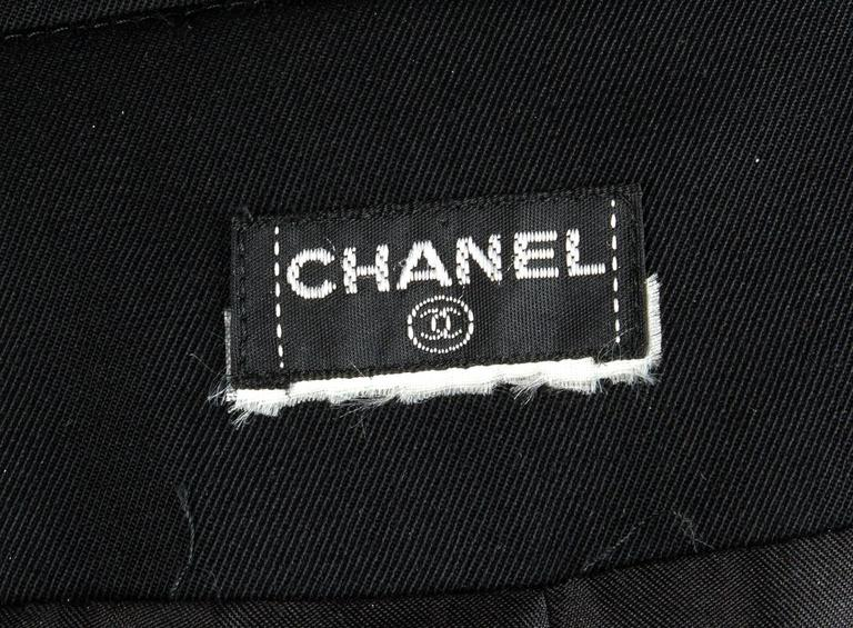 1990s Chanel vintage Double Breasted black wool trench coat 6