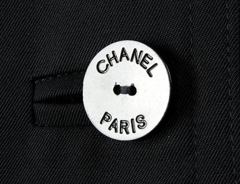 1990s Chanel vintage Double Breasted black wool trench coat For Sale 2