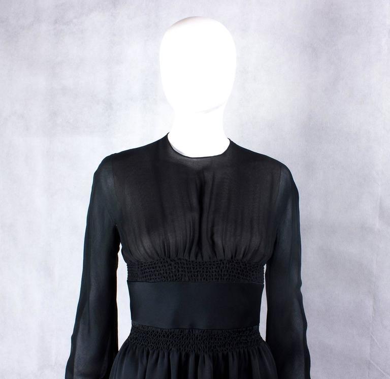Black 1970s Valentino Haute Couture vintage silk black dress For Sale