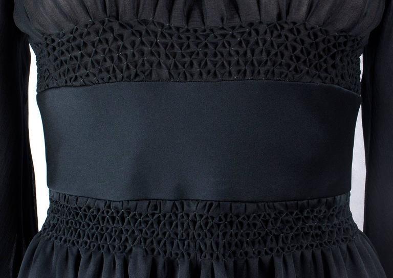1970s Valentino Haute Couture vintage silk black dress For Sale 1
