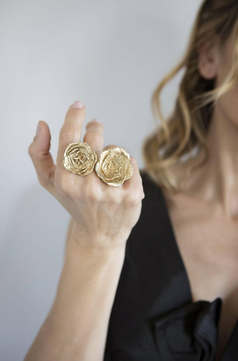 Giulia Barela's Cameliae ring is handmade and dipped in 24k gold plated bronze  Completely inspired by nature, in particularly light this jewel is brought to life. Giulia Barela jewels are characterized, stylistically, from strong sculptural effects