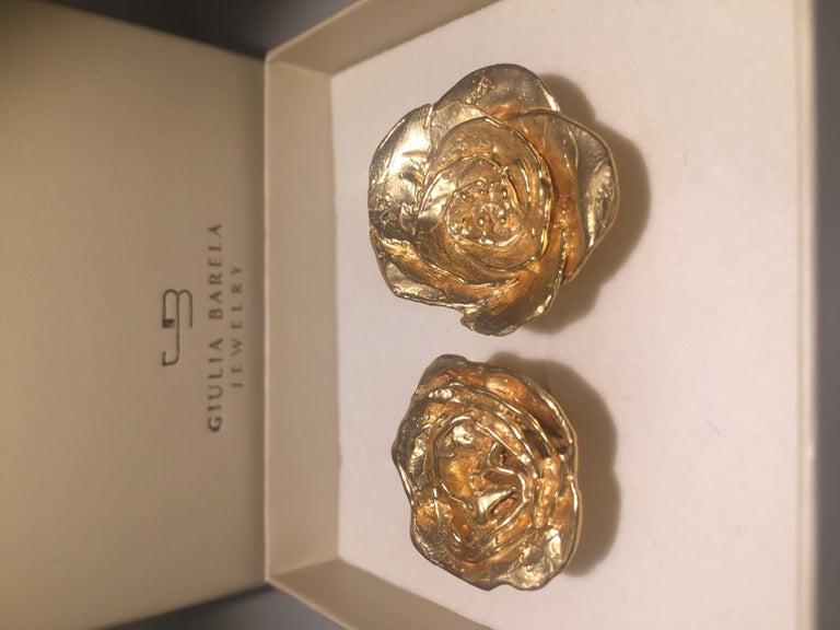 Contemporary Giulia Barela 24 karat Cameliae Ring, gold plated bronze For Sale