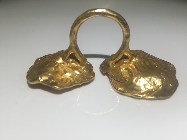 Women's Giulia Barela 24 karat Cameliae Ring, gold plated bronze For Sale