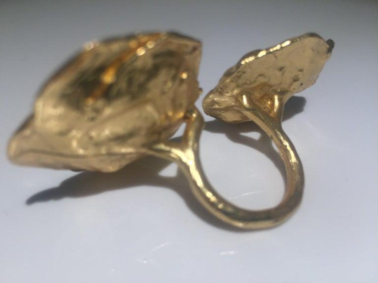 Giulia Barela 24 karat Cameliae Ring, gold plated bronze For Sale 3