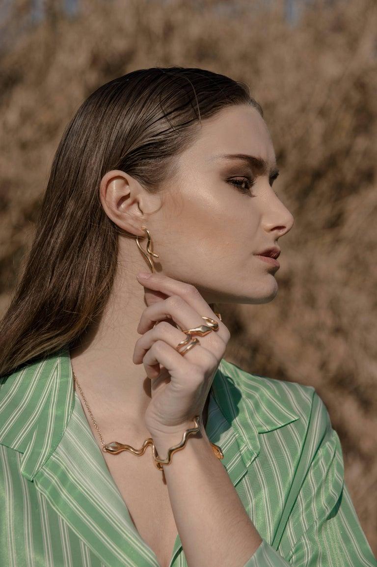 Women's Giulia Barela Ribbon ring, gold plated bronze For Sale