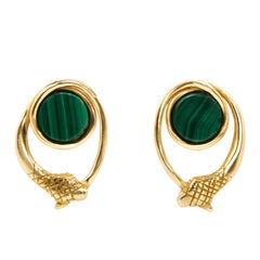 Giulia Barela Malachite 24 karat Gold Plated Bronze  Infinity Earrings