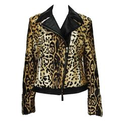 New ETRO Exotic Fur Lamb Leopard Print Leather Moto Jacket It. 42, 44