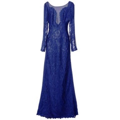 New Emilio Pucci Lace Cheer Blue Dress Gown It. 40 - US 4