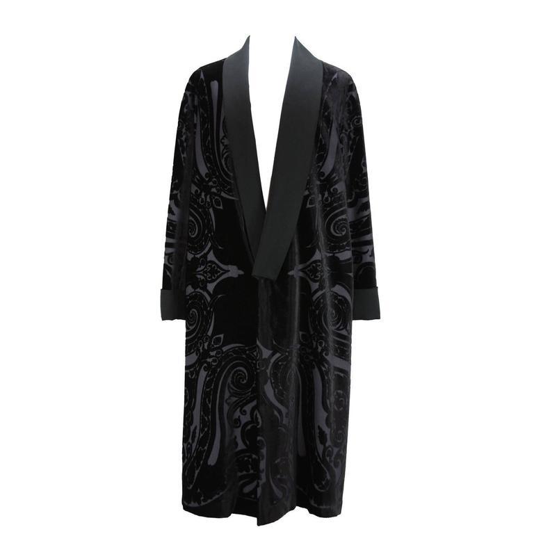 New ETRO Runway Men's Robe Kimono Coat Black Velvet Satin Lapel It.50 - US 40