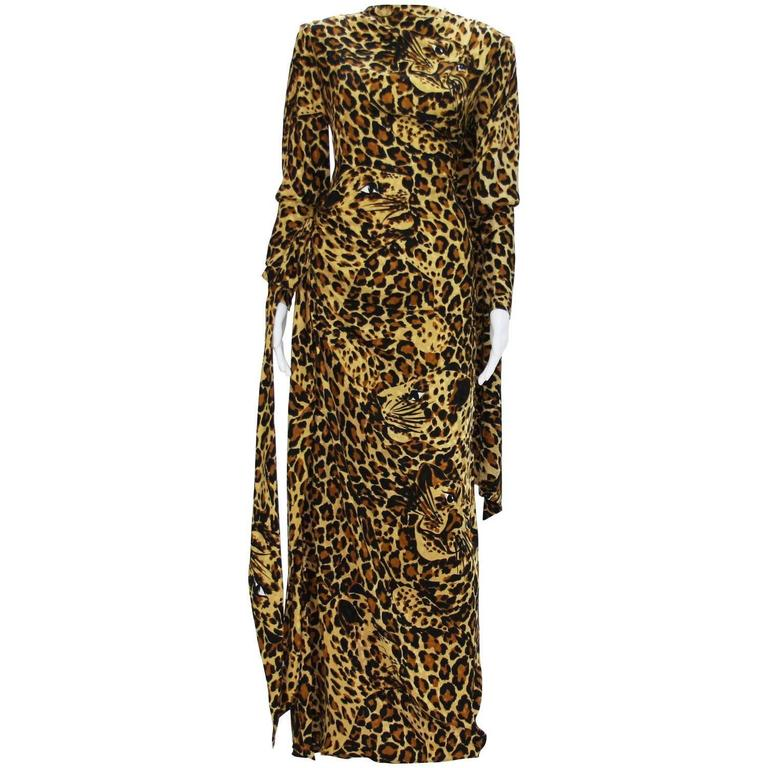 c222bd6ef99 Yves Saint Laurent Runway F/W 1982/83 Leopard Silk Gown with High Slit