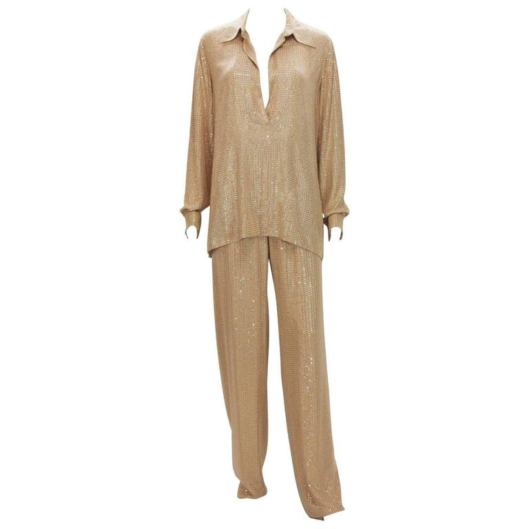 New $5350 Gucci Fully Embellished Rhinestone Tan Evening Pant Suit It.40 For Sale