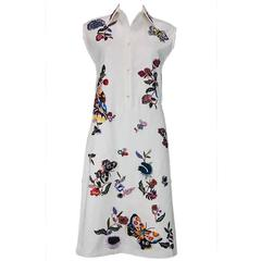 New ETRO Runway Exquisitely Hand Beaded & Embroidered White Dress w/Belt 40  6/8