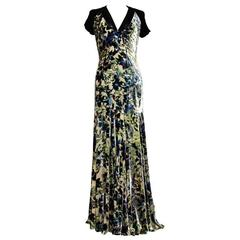 New Etro Floral Printed Velvet Blue Green Dress Gown It size 44