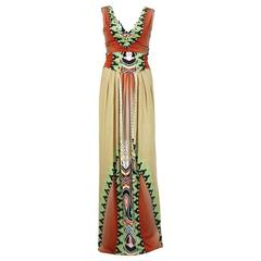 New Etro Jersey Printed Stretch Multicolored Long Evening Dress It.40,42  US 4,6