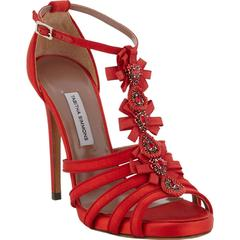 New $1295 TABITHA SIMMONS Jewel-Embellished T-Strap Red Sandals It.38 - US 8