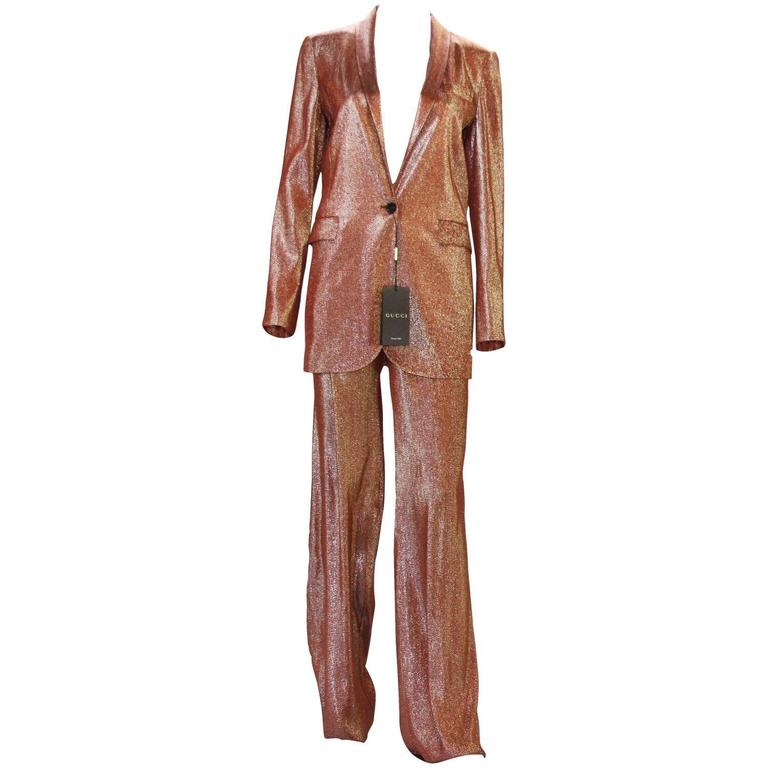 f703366aecefd New $3950 Runway GUCCI Suit Iridescent Rust Liquid Lame Jacket & Pants size  38 For Sale