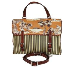 New ETRO Satchel Messenger Tropical Images Coated Canvas Top Hand Bag